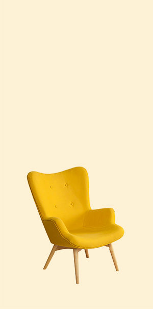 Yellow modern chair isolated on white